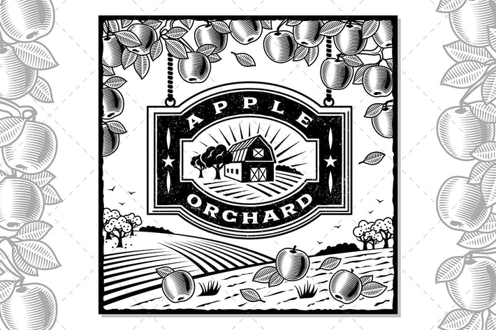 Cover Image For Apple Orchard Black And White