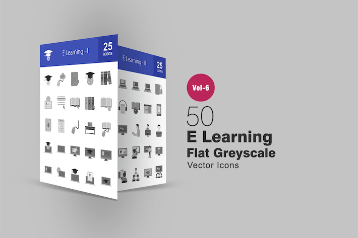 Thumbnail for 50 E Learning Flat Greyscale Icons