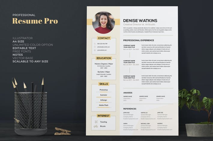 Thumbnail for Clean Yellow CV / Resume Pro