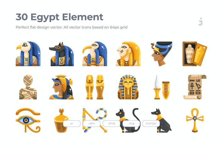 Thumbnail for 30 Egypt Element Icons - Flat