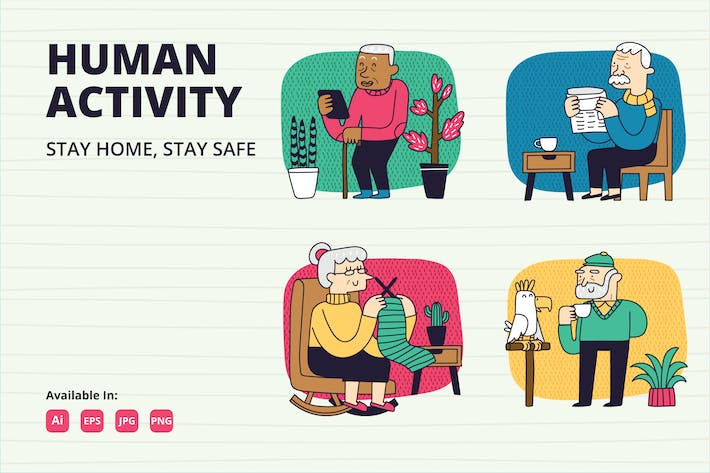 Thumbnail for Stay home for Elderly vector