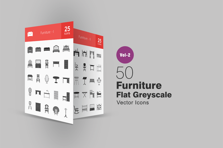Thumbnail for 50 Furniture Greyscale Icons