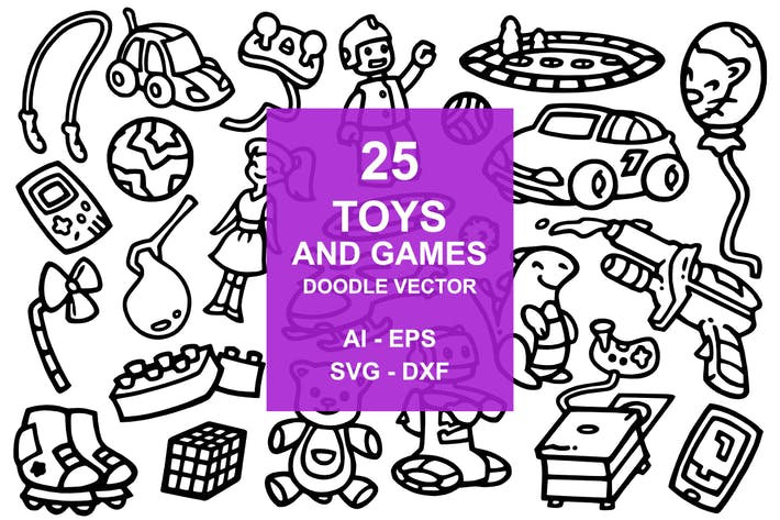 Thumbnail for 25 Toys and Game Doodles