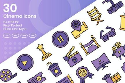 30 Cinema Icons Set - Filled Line