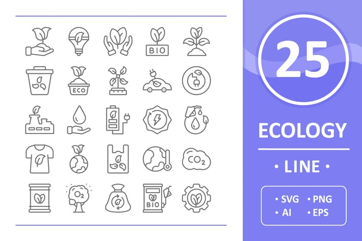 Thumbnail for 25 Ecology Icons - Line