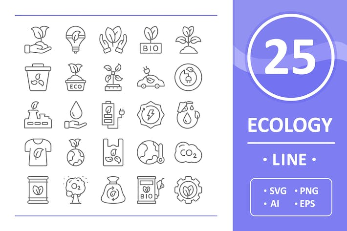 Cover Image For 25 Ecology Icons - Line