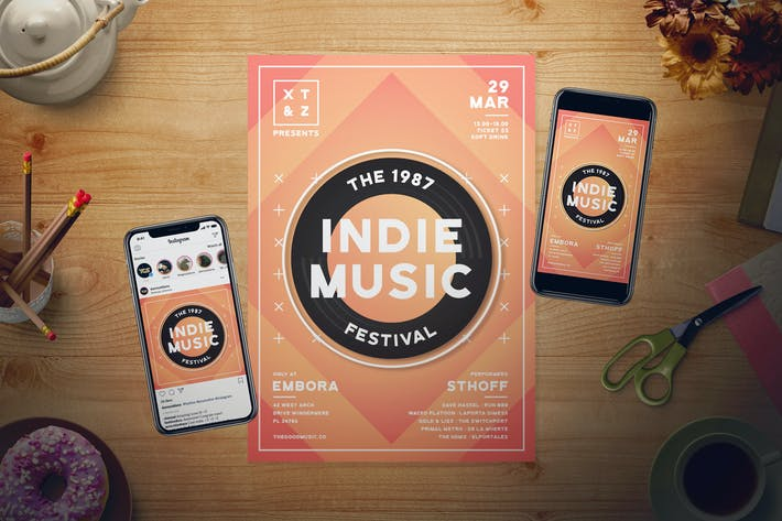 Cover Image For Indie Music Flyer Set