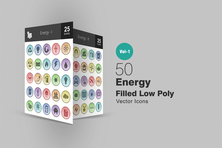 50 energiegefüllte Low-Poly-Icons