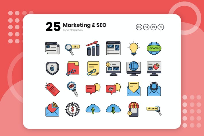Thumbnail for 25 Marketing & SEO Flat Icon Set