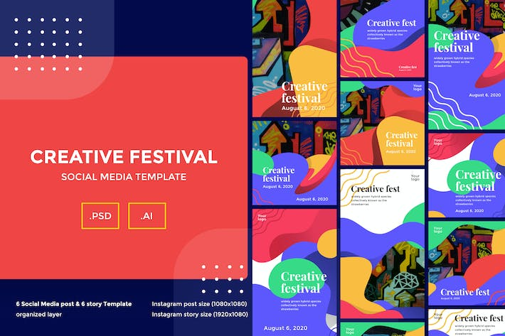Thumbnail for Creative Festival Social Media Template