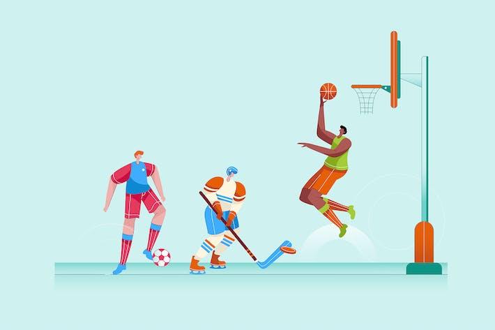 Thumbnail for Смешанные основные виды спорта - Вектор иллюстрация
