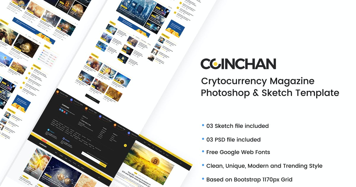 Download Coinchan - Crytocurrency Magazine Template by iDoodle