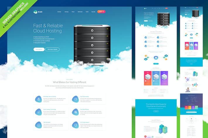 Thumbnail for Cloud Hosting Web Template -[Graphics Included]