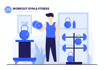 Workout Gym & Fitness Flat Vector Illustration