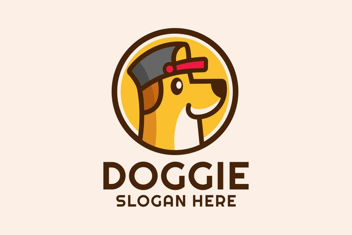 Cartoon Dog Wear a Hat Logo Design