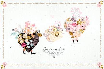 Flowers in Love - watercolor set with patterns
