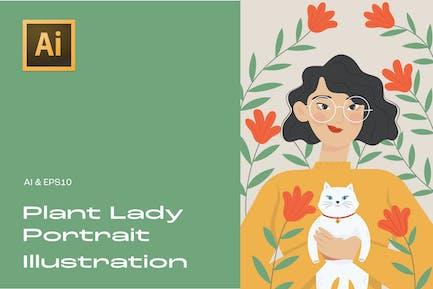 Plant Lady Retrato Ilustración 4