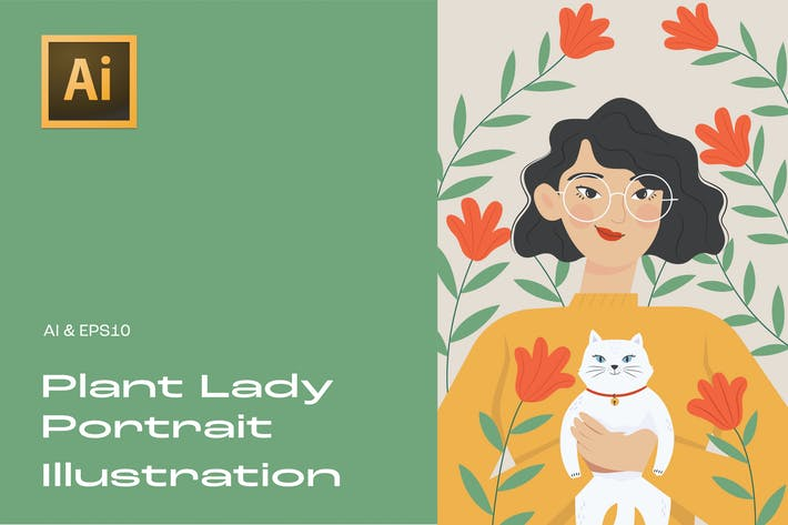 Plant Lady Portrait Illustration 4