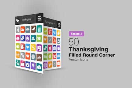 50 Thanksgiving Filled Round Corner Icons