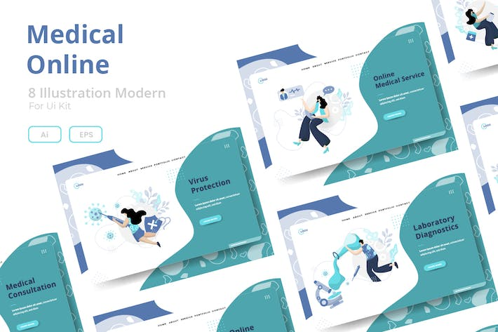 Medical Online sets Illustration