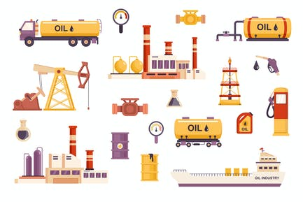Oil Industry Flat Scene Creator Kit