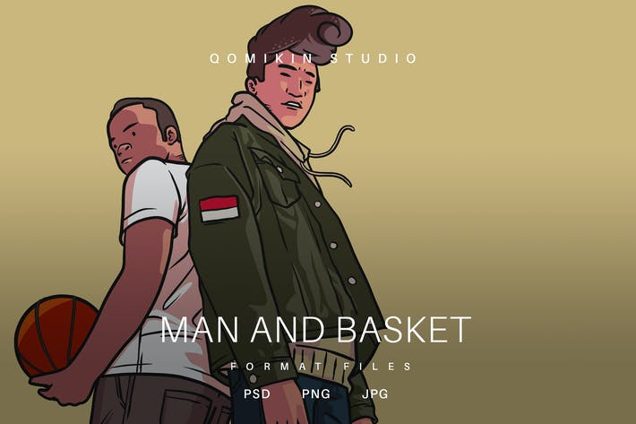 Thumbnail for Man and Basket Illustration