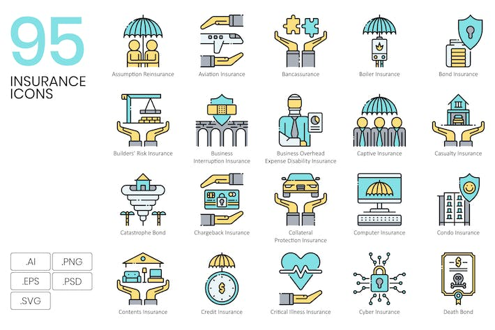 Thumbnail for 95 Insurance Icons & Finance Icons