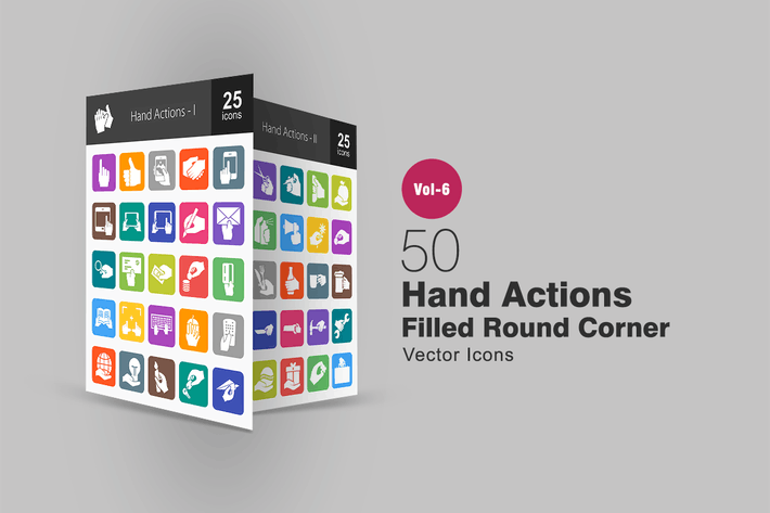 Thumbnail for 50 Hand Actions Filled Round Corner Icons