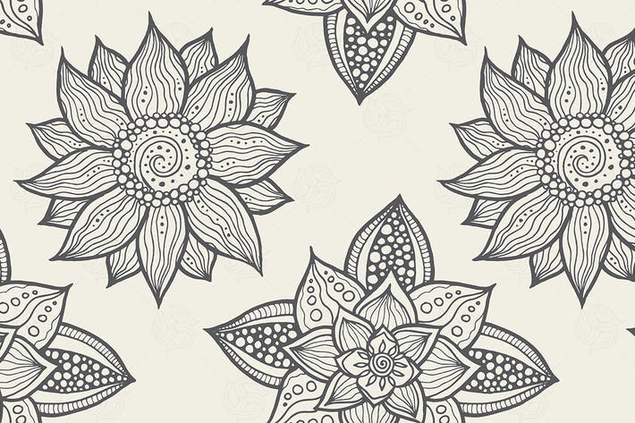 Thumbnail for Illustration of seamless hand-drawn floral pattern