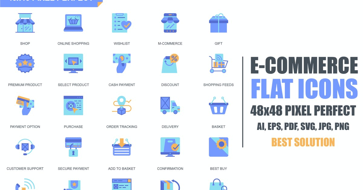 Download Simple Set E-Commerce and Shopping Flat Icons by Unknow