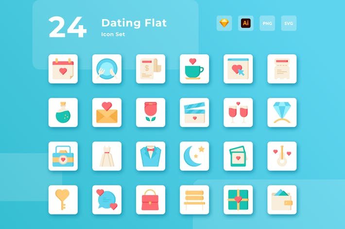 Thumbnail for Valentine Dating Flat Icon Set