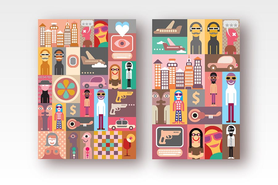 2 options of Pop Art Collage vector illustration