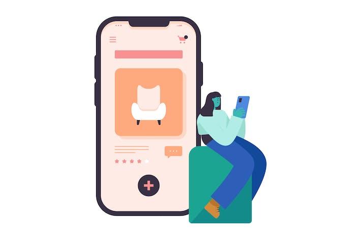 Thumbnail for Online Shopping Flat Illustration