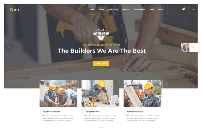 Cover Image For Nah Multipurpose Construction responsive HTML5 Tem