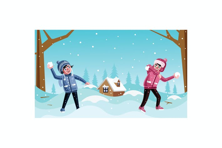 Thumbnail for Happy Children Playing throwing Snowballs