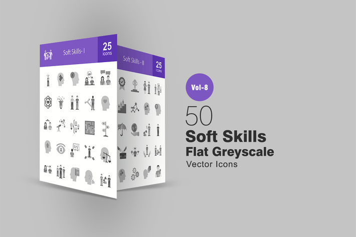 Thumbnail for 50 Soft Skills Flat Greyscale Icons