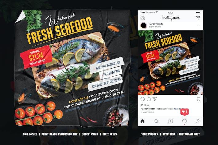 Thumbnail for Fruits de mer dépliant & post Instagram
