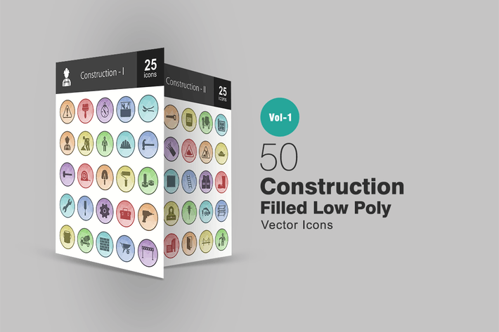 Thumbnail for 50 Construction Filled Low Poly Icons