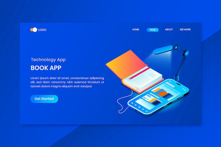 Thumbnail for Book App Isometric Concept Landing Page