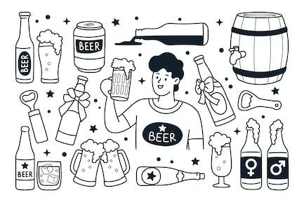 Illustration Doodle à la bière