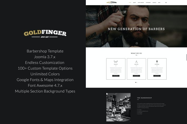 Cover Image For Goldfinger - Barbershop Joomla Template