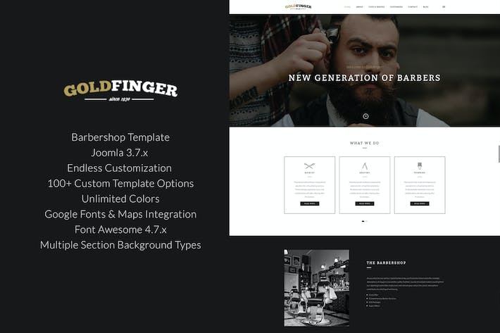 Thumbnail for Goldfinger - Barbershop Joomla Template