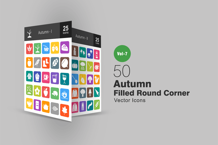 Thumbnail for 50 Autumn Filled Round Corner Icons