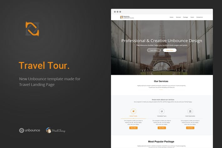 Cover Image For Travel Tour - Unbounce Landing Page