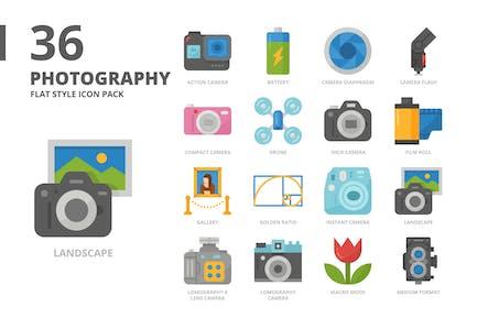 Photography Flat Style Icon Set