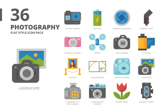 Fotografie Flach Stil Icon Set