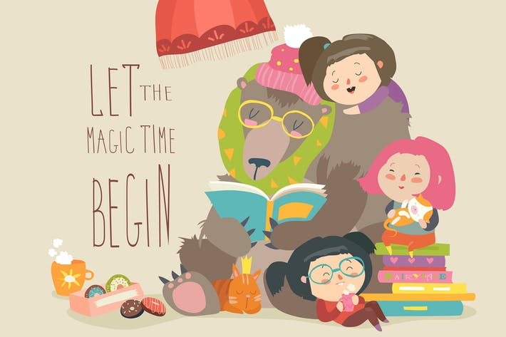 Thumbnail for Cute bear reading book for girls. Vector