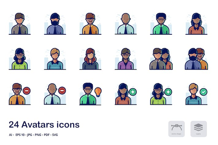 Thumbnail for Avatars Detailed filled outline icons