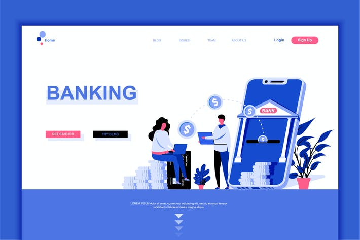 Thumbnail for Online Banking Flat Landing Page Template