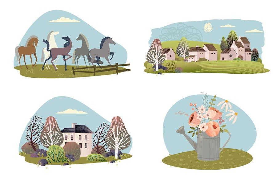 Conjunto de Ilustraciones Naturaleza y campo